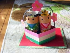 折り紙 おひなさま 折り紙 : ... の芯で可愛いおひなさま♪