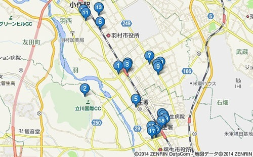 羽村の堰 周辺駐車場