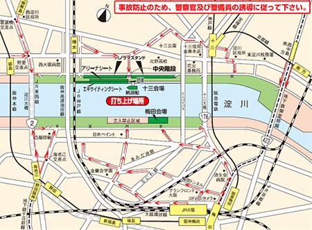 淀川花火大会2016 打ち上げ会場案内図