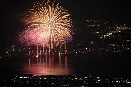 高ボッチ高原から観た花火