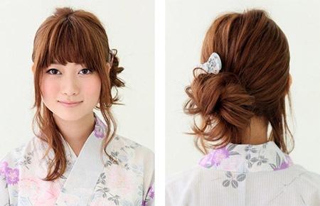 浴衣に似合うミディアムヘアー ... : 浴衣に合う髪型 簡単 ロング : 最新のヘアスタイル