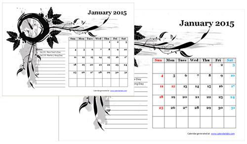 お洒落なA4カレンダーの無料ダウンロード先4