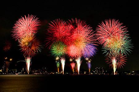 みずべ公園から観た花火