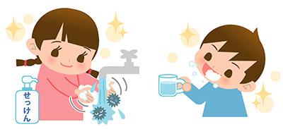 「手洗い」「うがい」「マスク」「健康的な生活」!