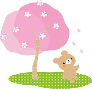動物とお花見をする様子が描かれたファンシー系