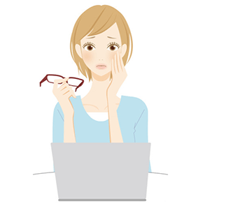 パソコンやテレビ、ゲーム、スマホなどを見続けることによる目の使い過ぎによる眼精疲労です。