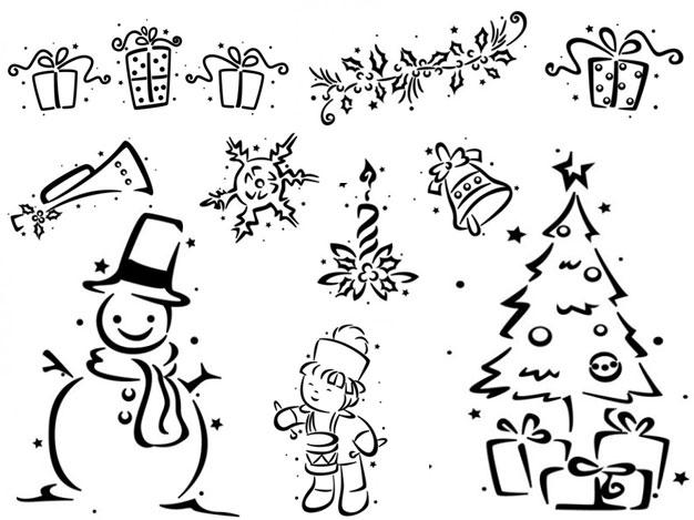 クリスマス イラスト 白黒モノクロ全部無料だよ