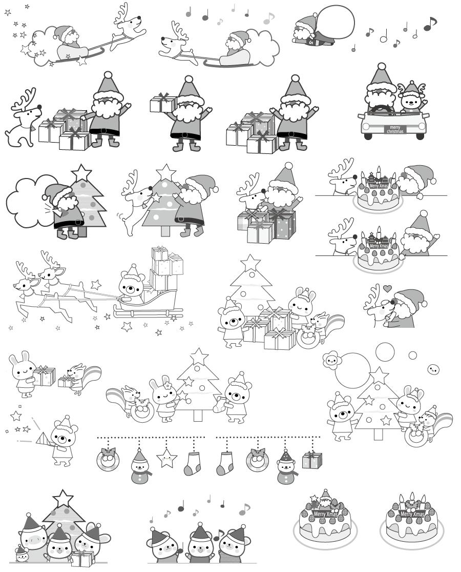 クリスマス イラスト 白黒(モノクロ)全部無料だよ♪