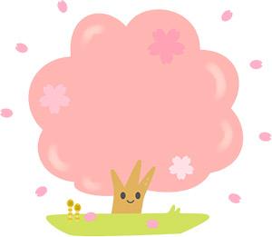 桜の木やグラスなどがかわいく描かれた無料イラスト
