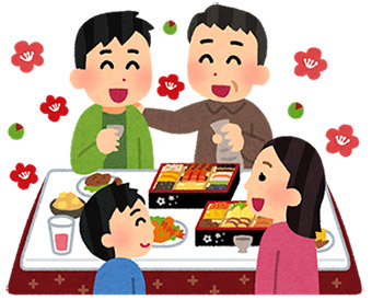 お重にぎっしり詰まった豪華なおせち料理、それを囲んで楽しむ家族