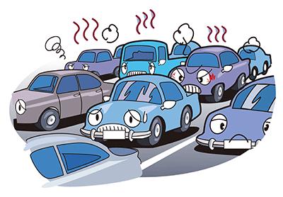 午後になると市内は大渋滞になり