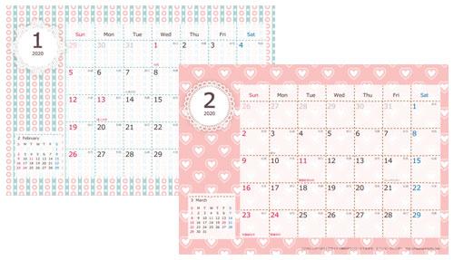 お洒落なA4カレンダーの無料ダウンロード先1