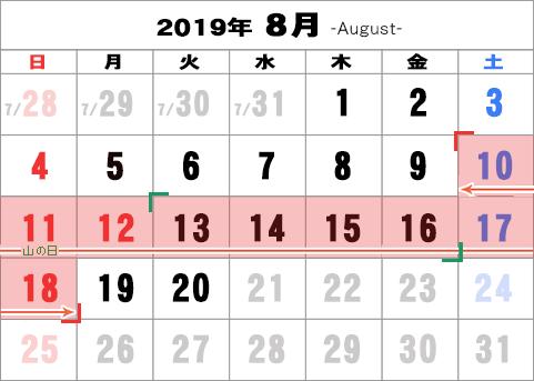 2019年の世間のお盆休み