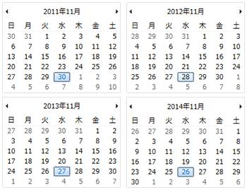 11月の2011年から2014年までの4年間は、毎年11月の最終水曜日